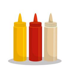 sauces set bottles icon vector image