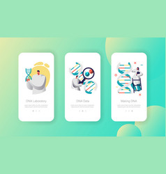 scientist group genome pair in dna cell mobile app vector image