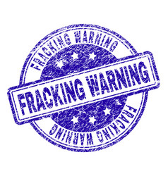 Scratched textured fracking warning stamp seal vector