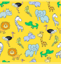 Seamless pattern with cute smiling giraffe zebra vector