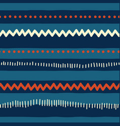 seamless red and blue tribal doodle pattern vector image