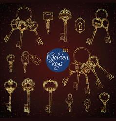 set hand-drawn antique keys vector image