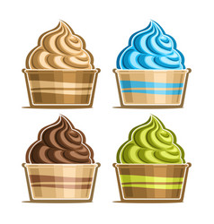 set ice cream in paper cup vector image