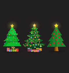 set of cute cartoon christmas fir trees on black vector image