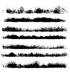 Set of different ink paint brush stroke borders vector