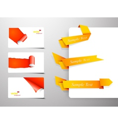 Set of gift cards with rolled corners and origami vector image vector image