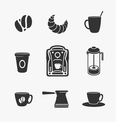 set of symbol of coffee and tea vector image