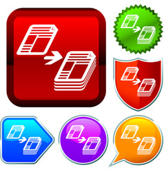 Set shiny icon series on buttons copy vector