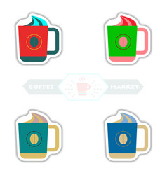 Sets of label frames and badges icons vector