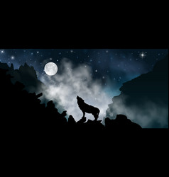 Silhouette wolf howling at moon at vector