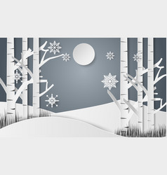 snowflakes for christmas day and forest vector image