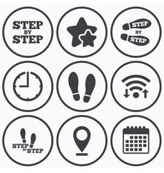 Step icons Footprint shoes symbols vector