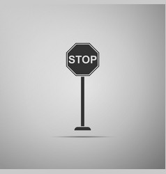 Stop sign icon isolated on grey background vector