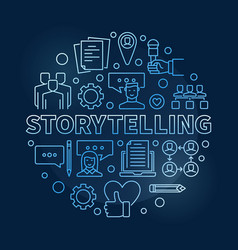 storytelling circular concept outline blue vector image