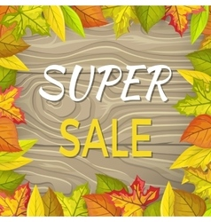 Super Sale Fall Banner Isolated Wooden Background vector