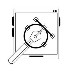 Tablet with compass in black and white vector