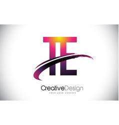 Te t e purple letter logo with swoosh design vector