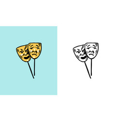 theatrical mask mood change concept vector image