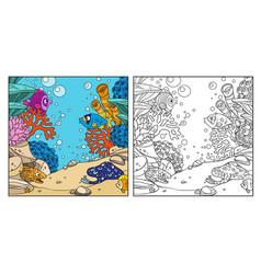 underwater world with corals anemones moray eels vector image