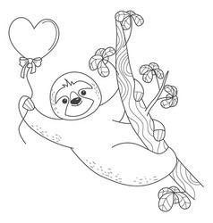 valentine sloth hanging on a branch with a heart vector image