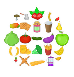 Vegetable diet icons set cartoon style vector