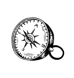 Vintage compass engraving vector