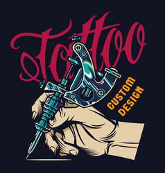 Vintage tattoo studio print vector