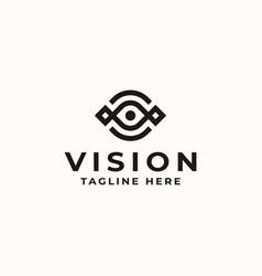 vision eye monogram concept logo template vector image