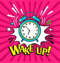 Wake up funny alarm clock vector