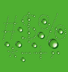 Water Drop Letters On Green New 12 vector image