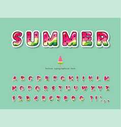 watermelon summer trendy font cartoon decorative vector image