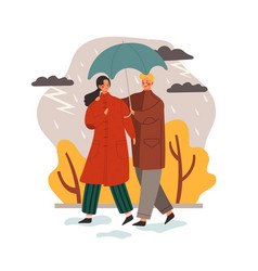 weather and people concept with rain in autumn vector image