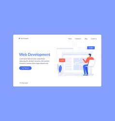 web development man coding and write script vector image