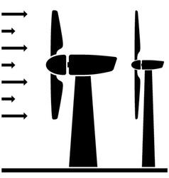 Wind power plant black pictograms vector