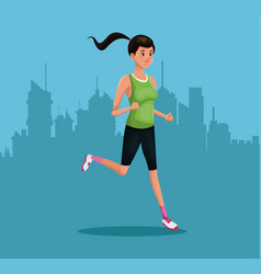 Woman sports running training urban background vector