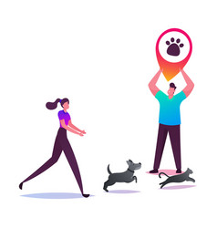 Young woman trying to catch dog and cat running vector