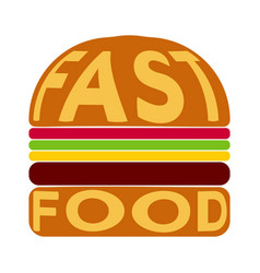 burger with the text fast food on bun vector image
