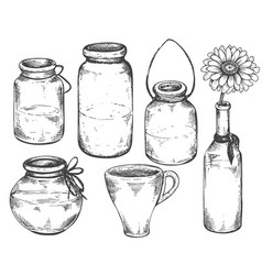 collection of hand drawn vases and jars vector image