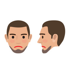 sad man avatar user pic front and side head view vector image vector image