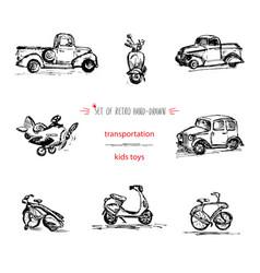 set hand-drawn vintage kids transport toys car vector image