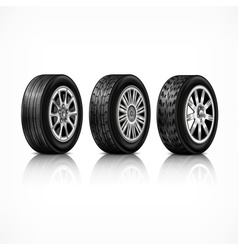 Three rubber wheels on white vector image vector image