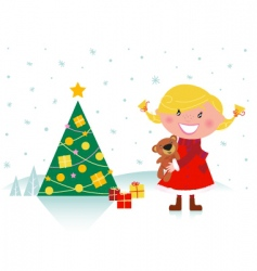 cute girl with christmas tree vector image vector image