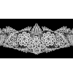 Seamless stripe - floral lace ornament - white on vector image vector image