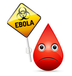 The sad drop of blood with yellow ebola virus vector