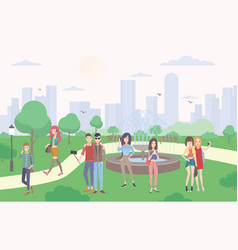 young people with gadgets in the park guys and vector image