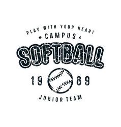 emblem of softball team vector image vector image