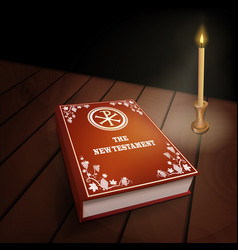 new testament book on wood table with candle vector image