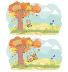 teddy bear on swing autumn concept vector image