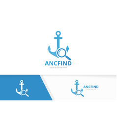 Anchor and loupe logo combination marine vector