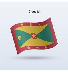 Grenada flag waving form vector image vector image